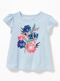 Graphic Flutter-Sleeve Swing Tee for Toddler Girls