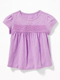 Lace-Trim Slub-Knit Top for Toddler Girls