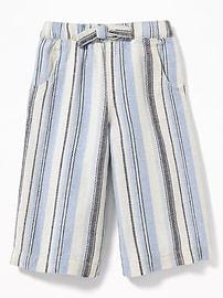 Jupe-culotte à jambe large en mélange de lin pour toute-petite fille
