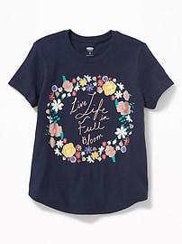 T-shirt à imprimé à ourlet arrondi pour fille