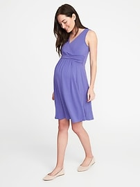 Maternity Sleeveless Cross-Front Dress