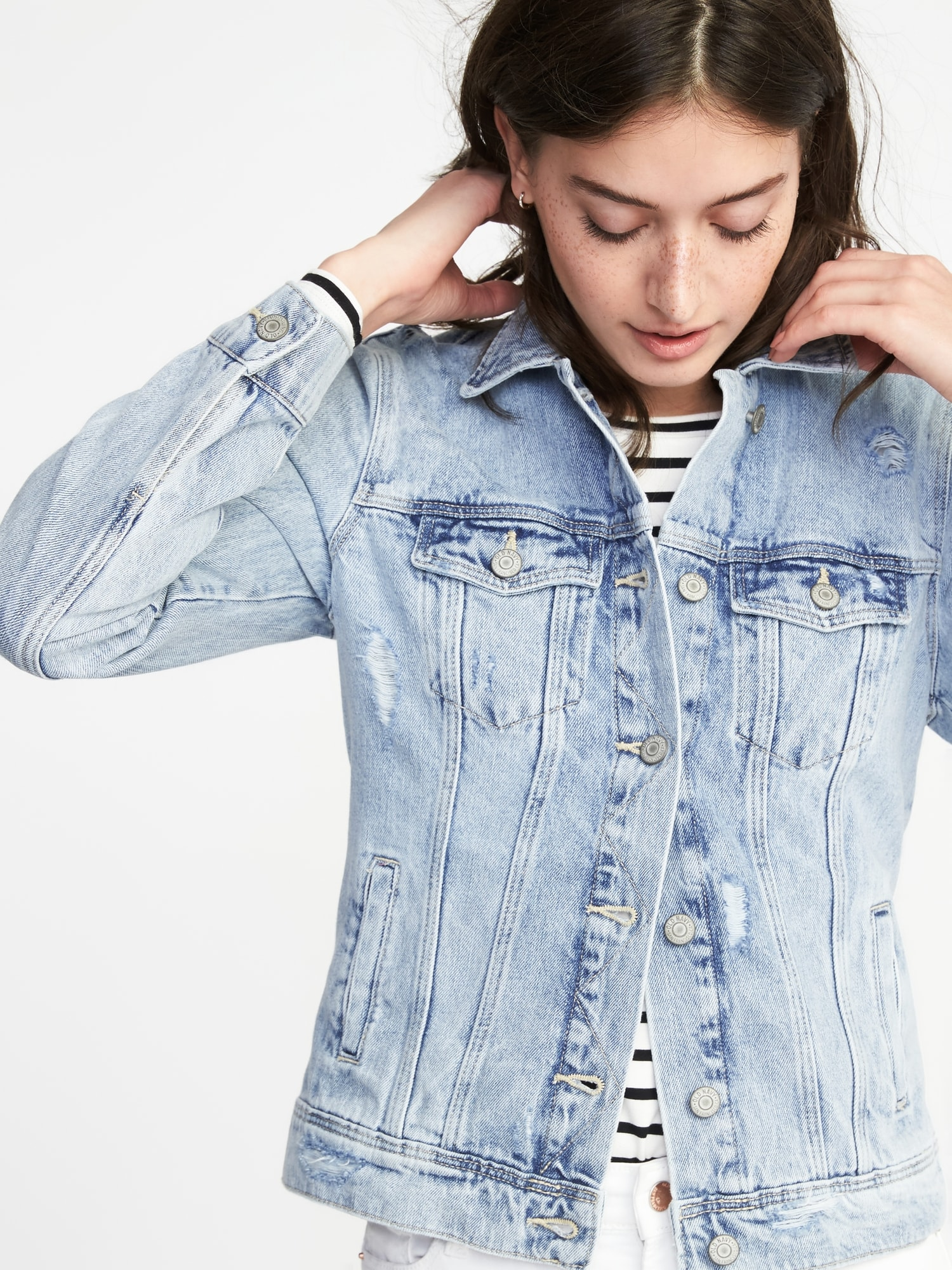 Distressed Denim Jacket for Women  c32579a2b