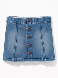 Button-Front Denim Mini for Toddler Girls