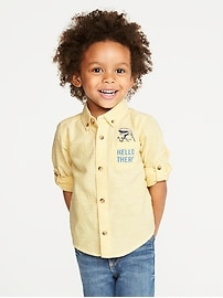 """Hello There"" Pocket Roll-Up Shirt for Toddler Boys"