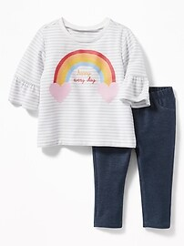 Graphic French Terry Sweatshirt & Leggings Set for Baby