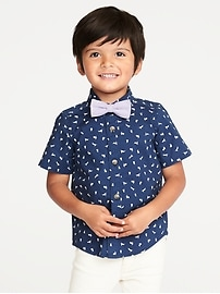 Built-In Flex Bunny Shirt & Bow-Tie Set for Toddler Boys
