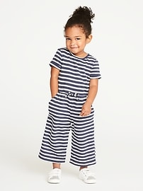 French Terry Wide-Leg Jumpsuit for Toddler Girls