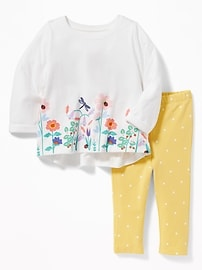 Graphic Top & Leggings Set for Baby