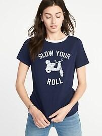 T-shirt à imprimé tout-aller à ourlet arrondi pour femme