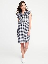 Maternity Tie-Belt Flutter-Sleeve Shirt Dress