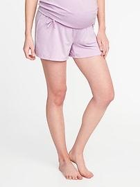 "Maternity Foldover Bow-Tie Lounge Shorts (3 3/4"")"