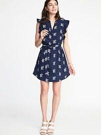 Sleeveless Ruffle-Trim Shirt Dress for Women