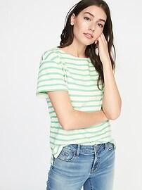T-shirt décontracté à rayures de marin pour femme
