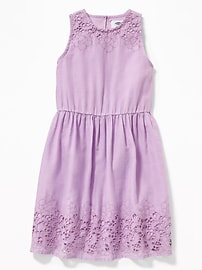 High-Neck Fit & Flare Cutwork Dress for Girls