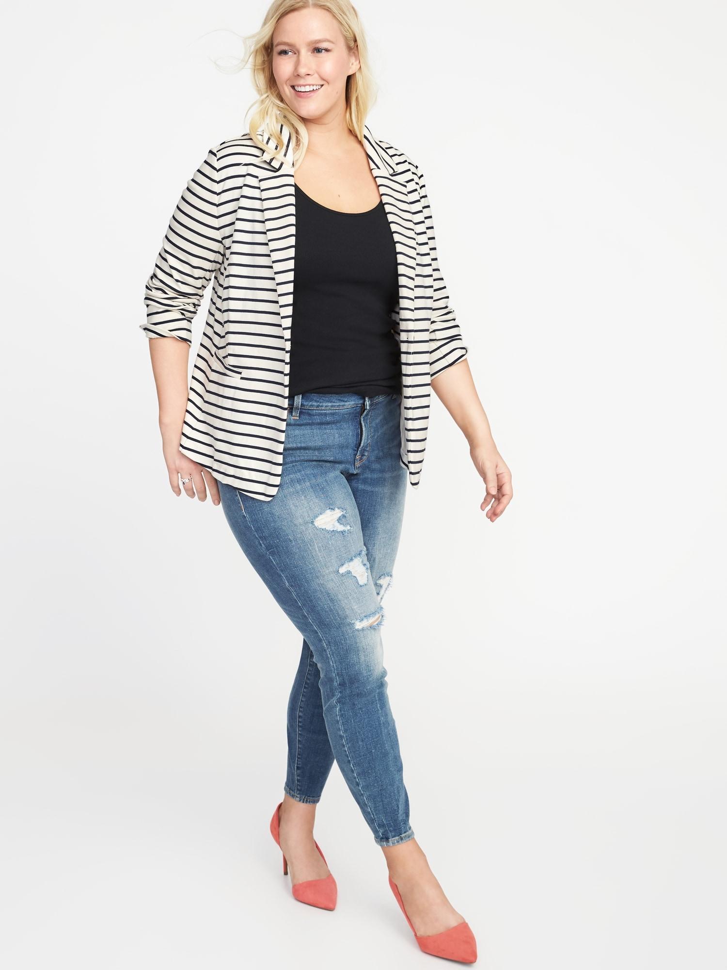 c10d9bc7c sale retailer b7f30 7e16f ponte knit plus size blazer ...