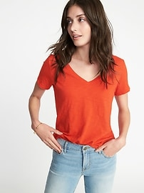 T-shirt décontracté tout-aller à ourlet arrondi pour femme