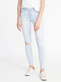 Mid-Rise Distressed Super Skinny Rockstar Jeans for Women