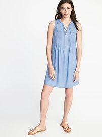 Sleeveless Lace-Up-Yoke Pintuck Swing Dress for Women