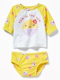 Printed Rashguard & Bikini Bottoms Swim Set for Baby
