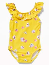 Ruffled Bow-Tie Back Swimsuit for Toddler Girls