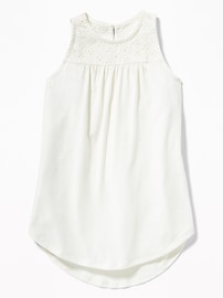 Eyelet-Yoke Jersey Tunic for Girls