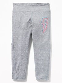 Graphic Twisted-Hem Cropped Performance Leggings for Girls