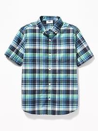 Classic Built-In Flex Plaid Shirt for Boys