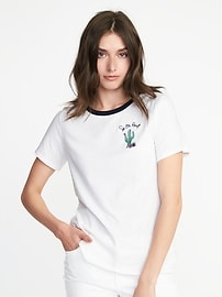 EveryWear Graphic Curved-Hem Tee for Women