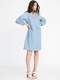 Boho Tassel-Tie Chambray Shift Dress for Women
