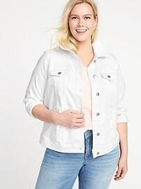 White Denim Plus-Size Jacket