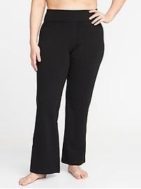 Roll-Over Plus-Size Wide-Leg Yoga Pants
