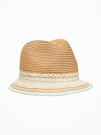Pop-Color Straw Fedora for Girls