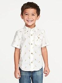 Built-In Flex Carrot-Print Shirt for Toddler Boys