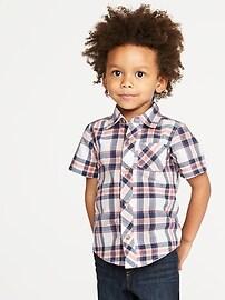 Built-In Flex Plaid Poplin Shirt for Toddler Boys