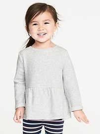 French-Terry Peplum-Hem Sweatshirt for Toddler Girls