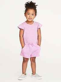 Flutter-Sleeve Jersey Romper for Toddler Girls