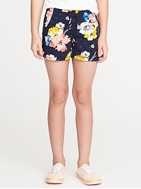 Floral Dolphin-Hem Twill Shorts for Girls