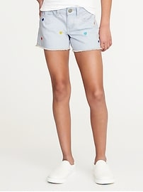 Embroidered-Hearts Denim Cut-Offs for Girls