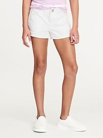 Short en denim blanc à revers pour fille