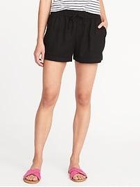 """Mid-Rise Pull-On Linen-Blend Shorts for Women (4"""")"""