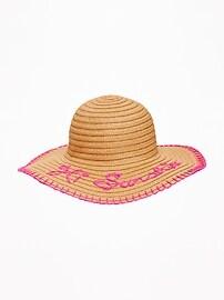 Chapeau de soleil en paille à bords souples «Hi, Sunshine» pour fille