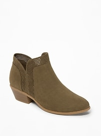 Perforated Sueded Low Booties for Women