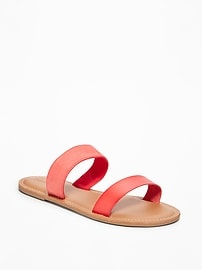 Double-Strap Mixed-Fabric Sandals for Women