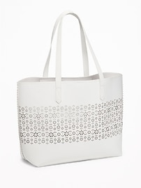 Faux-Leather Laser-Cut Tote for Women