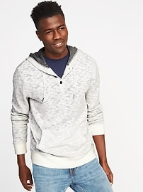 Slub-Knit Henley Hoodie for Men