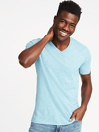 T-shirt en fil flammé doux à col enV pour homme