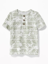 Slub-Knit Tropical-Print Henley for Toddler Boys