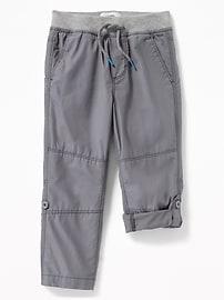 Rib-Waist Poplin Roll-Up Pants for Toddler Boys