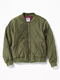 Quilted Bomber Jacket for Girls