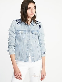 Floral-Embroidered Denim Jacket for Women